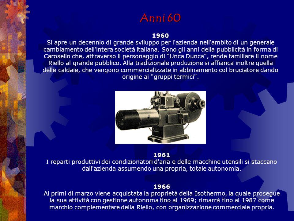 Anni 50 1950 1955 1958 Anni 50 1950 L inizio degli anni Cinquanta vede il continuo ampliamento dei settori d officina e soprattutto la definitiva affermazione del bruciatore applicato a tutte le possibili utenze termiche.