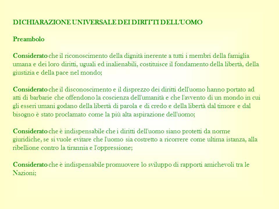 DICHIARAZIONE UNIVERSALE DEI DIRITTI DELL'UOMO Preambolo Considerato che il riconoscimento della dignità inerente a tutti i membri della famiglia uman