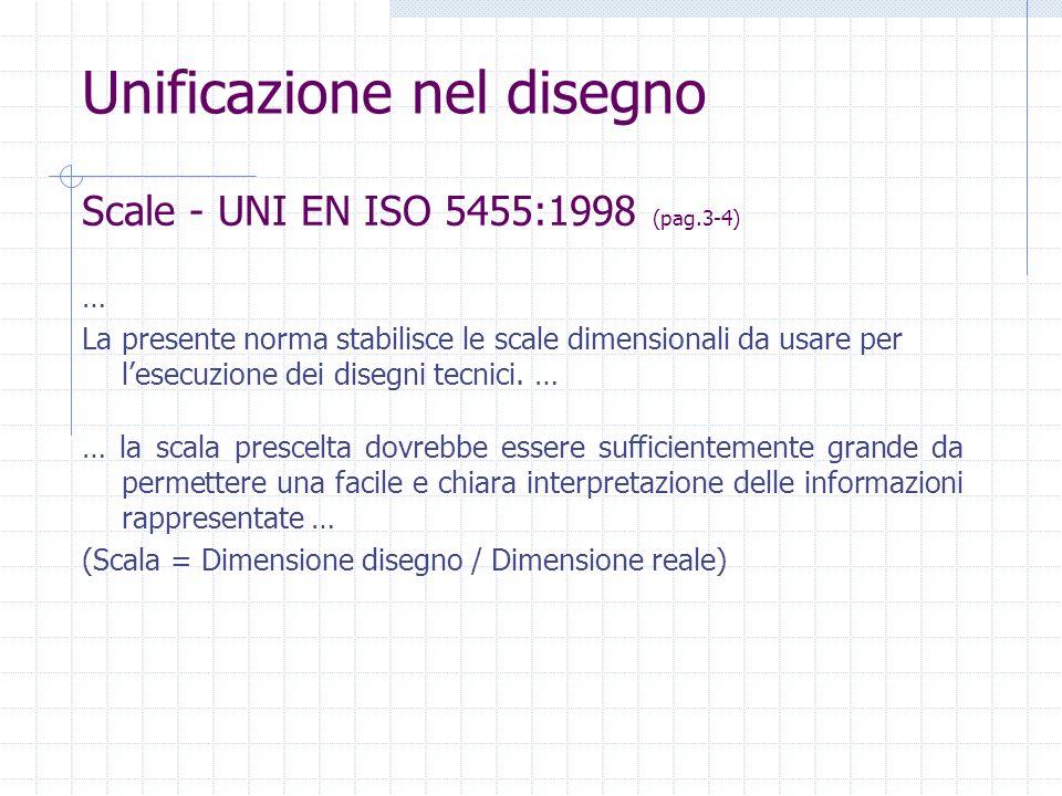 Scale - UNI EN ISO 5455:1998 (pag.3-4) Unificazione nel disegno … La presente norma stabilisce le scale dimensionali da usare per lesecuzione dei dise