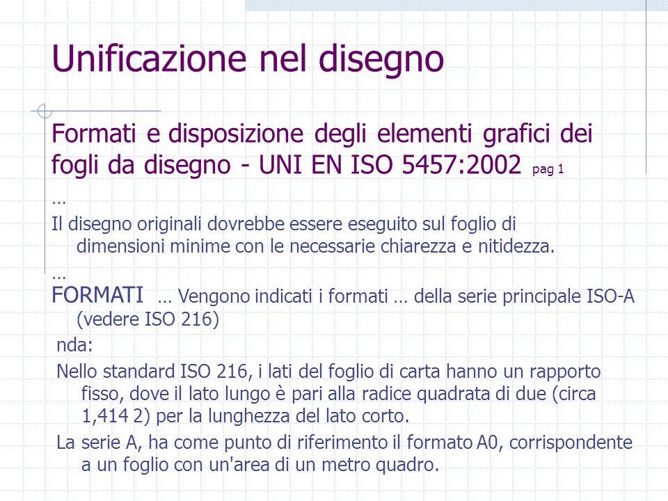 Formati e disposizione degli elementi grafici dei fogli da disegno - UNI EN ISO 5457:2002 pag 1 … Il disegno originali dovrebbe essere eseguito sul fo