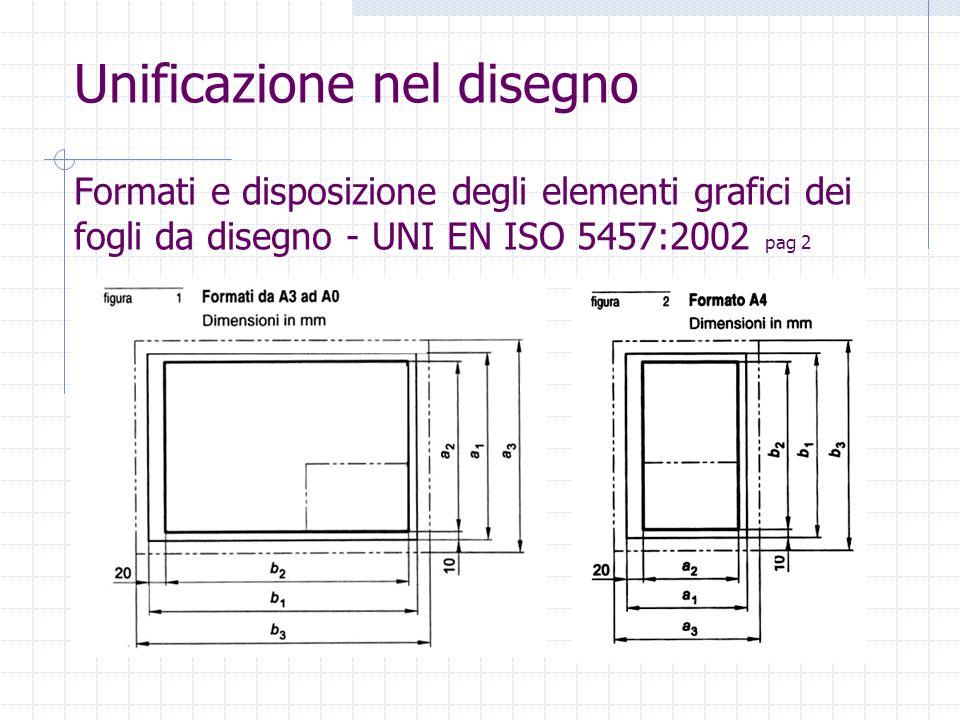 Unificazione nel disegno Formati e disposizione degli elementi grafici dei fogli da disegno - UNI EN ISO 5457:2002 pag 2