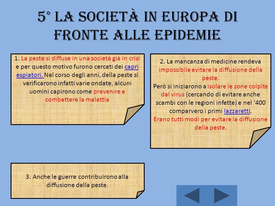 5° La società in Europa di fronte alle epidemie 1.