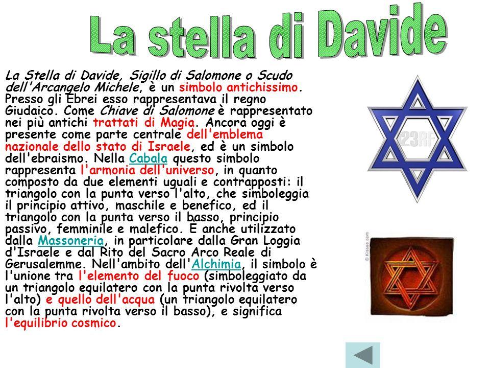 La Stella di Davide, Sigillo di Salomone o Scudo dell'Arcangelo Michele, è un simbolo antichissimo. Presso gli Ebrei esso rappresentava il regno Giuda
