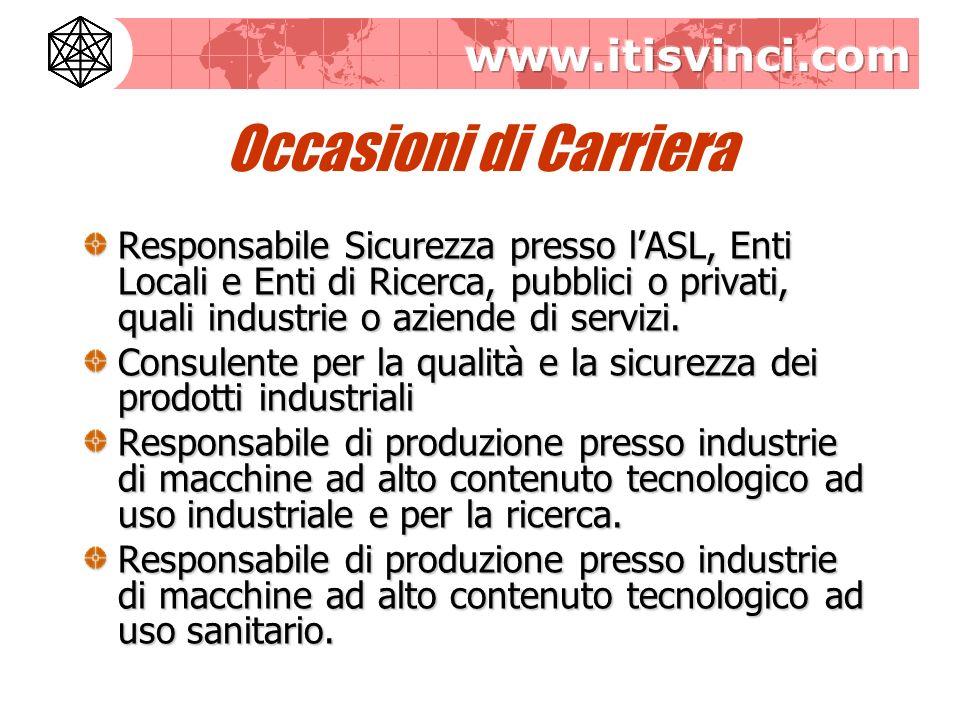 Occasioni di Carriera Responsabile Sicurezza presso lASL, Enti Locali e Enti di Ricerca, pubblici o privati, quali industrie o aziende di servizi.