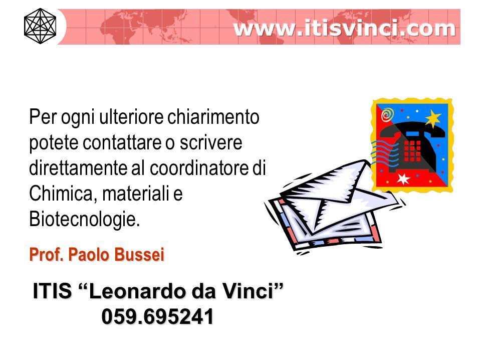 Per ogni ulteriore chiarimento potete contattare o scrivere direttamente al coordinatore di Chimica, materiali e Biotecnologie.