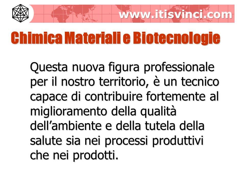 Chimica Materiali e Biotecnologie Questa nuova figura professionale per il nostro territorio, è un tecnico capace di contribuire fortemente al miglioramento della qualità dellambiente e della tutela della salute sia nei processi produttivi che nei prodotti.