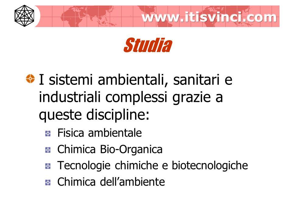 Studia I sistemi ambientali, sanitari e industriali complessi grazie a queste discipline: Fisica ambientale Chimica Bio-Organica Tecnologie chimiche e biotecnologiche Chimica dellambiente