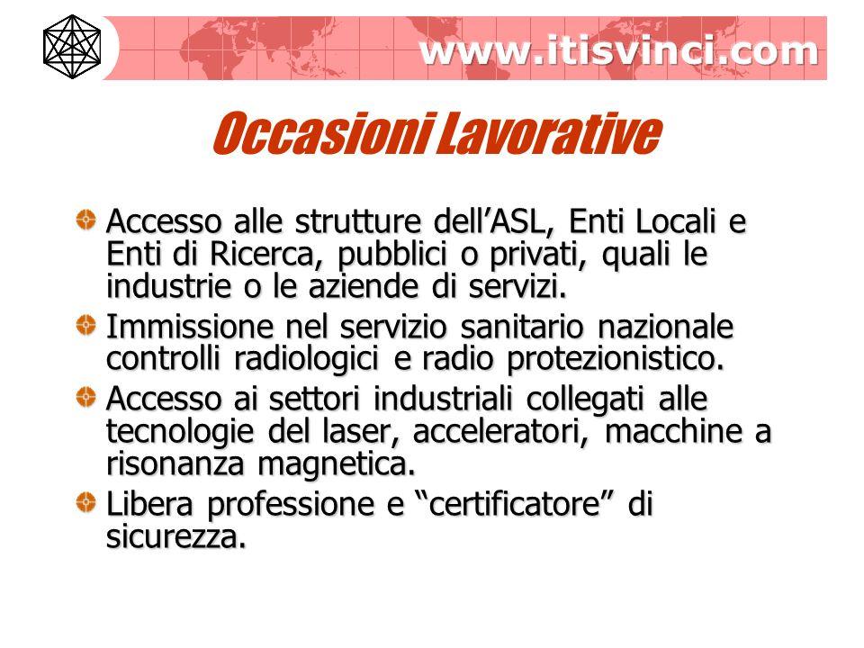 Occasioni Lavorative Accesso alle strutture dellASL, Enti Locali e Enti di Ricerca, pubblici o privati, quali le industrie o le aziende di servizi.