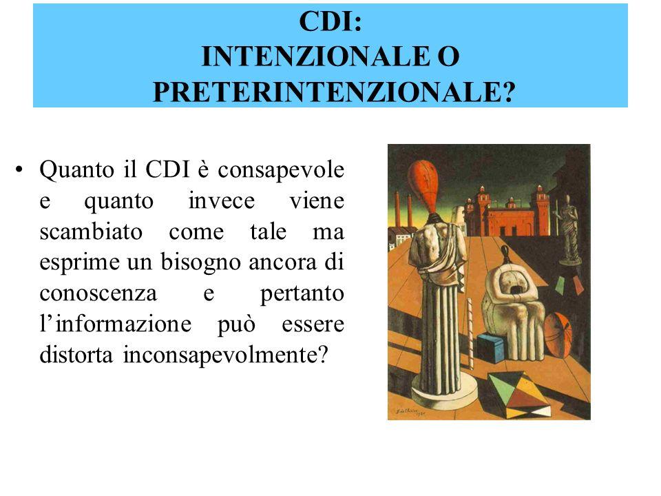 CDI: INTENZIONALE O PRETERINTENZIONALE? Quanto il CDI è consapevole e quanto invece viene scambiato come tale ma esprime un bisogno ancora di conoscen