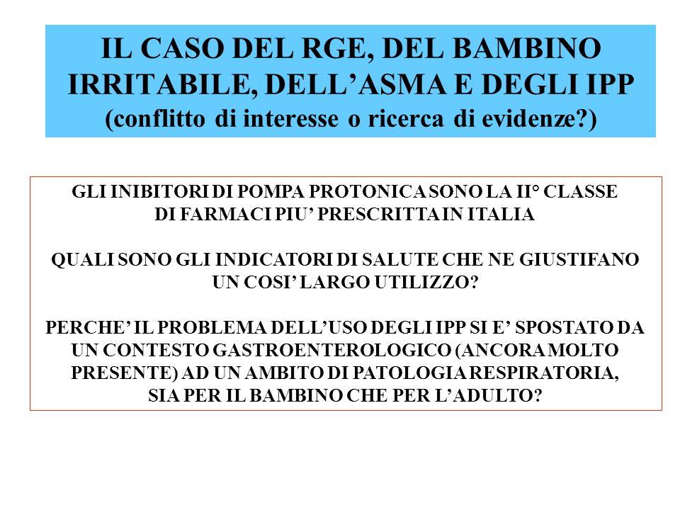 IL CASO DEL RGE, DEL BAMBINO IRRITABILE, DELLASMA E DEGLI IPP (conflitto di interesse o ricerca di evidenze?) GLI INIBITORI DI POMPA PROTONICA SONO LA II° CLASSE DI FARMACI PIU PRESCRITTA IN ITALIA QUALI SONO GLI INDICATORI DI SALUTE CHE NE GIUSTIFANO UN COSI LARGO UTILIZZO.