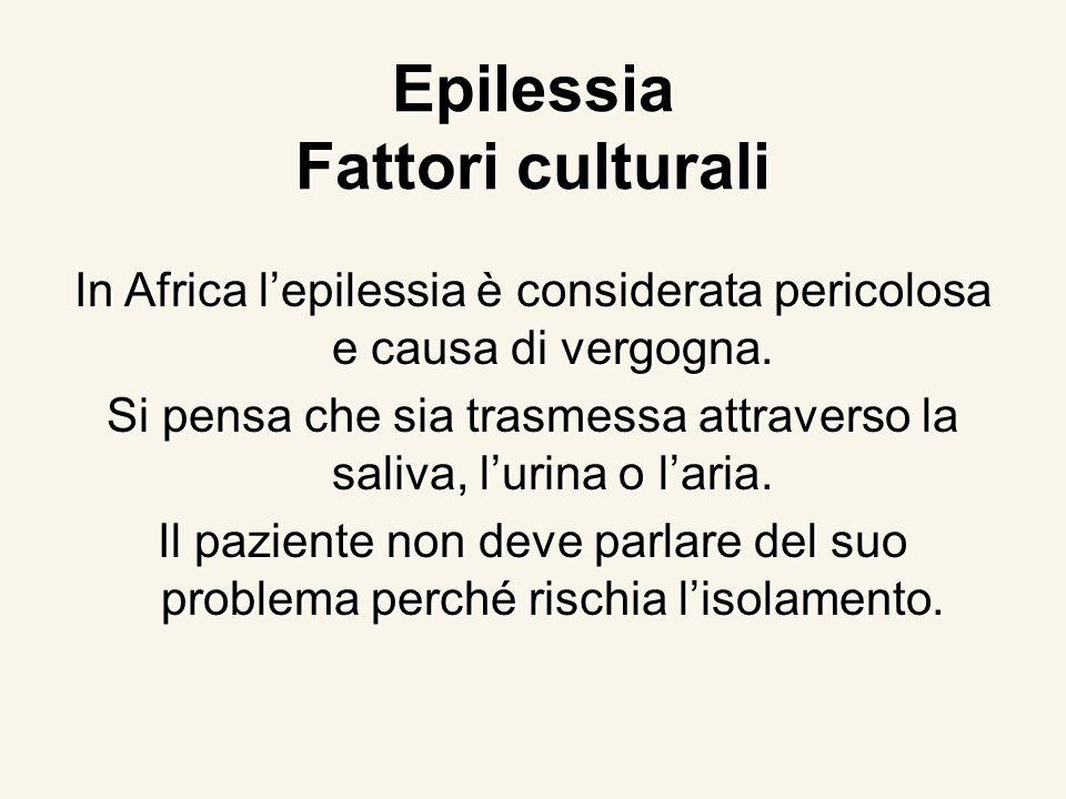 Epilessia Fattori culturali In Africa lepilessia è considerata pericolosa e causa di vergogna. Si pensa che sia trasmessa attraverso la saliva, lurina
