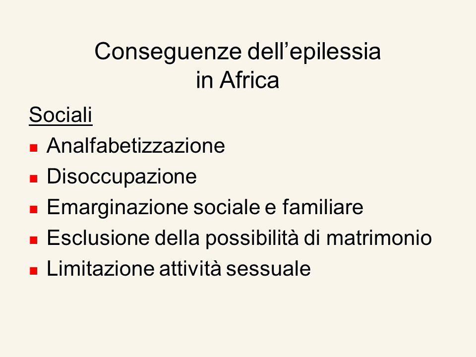 Conseguenze dellepilessia in Africa Sociali Analfabetizzazione Analfabetizzazione Disoccupazione Disoccupazione Emarginazione sociale e familiare Emar