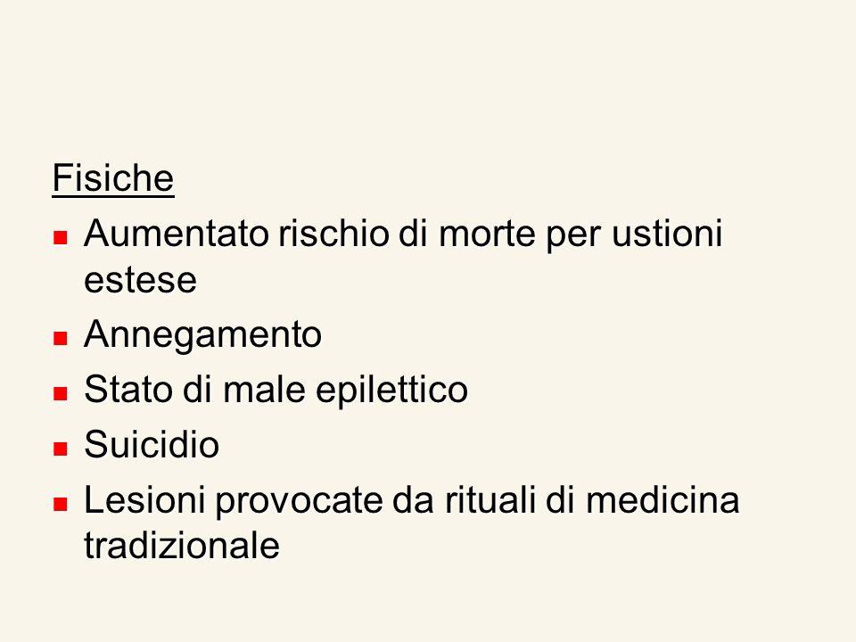 Fisiche Aumentato rischio di morte per ustioni estese Aumentato rischio di morte per ustioni estese Annegamento Annegamento Stato di male epilettico S