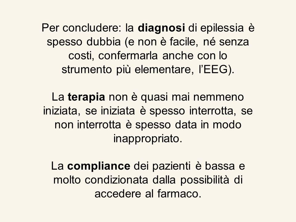 Per concludere: la diagnosi di epilessia è spesso dubbia (e non è facile, né senza costi, confermarla anche con lo strumento più elementare, lEEG). La