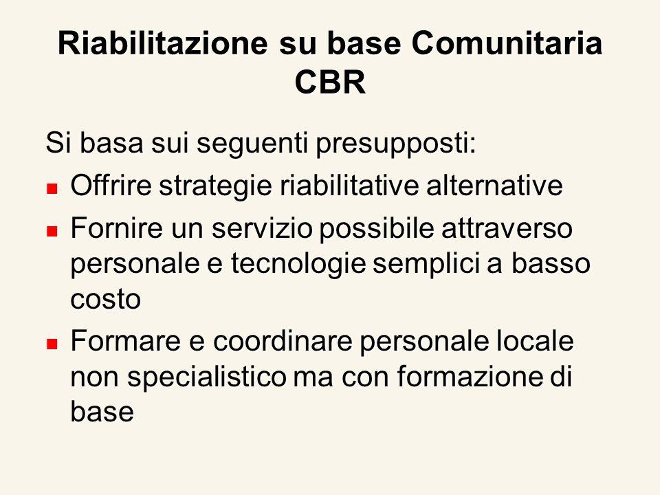 Riabilitazione su base Comunitaria CBR Si basa sui seguenti presupposti: Offrire strategie riabilitative alternative Offrire strategie riabilitative a
