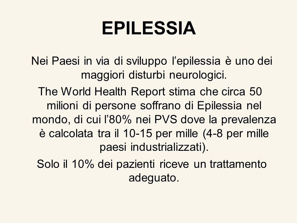 EPILESSIA Nei Paesi in via di sviluppo lepilessia è uno dei maggiori disturbi neurologici. Nei Paesi in via di sviluppo lepilessia è uno dei maggiori