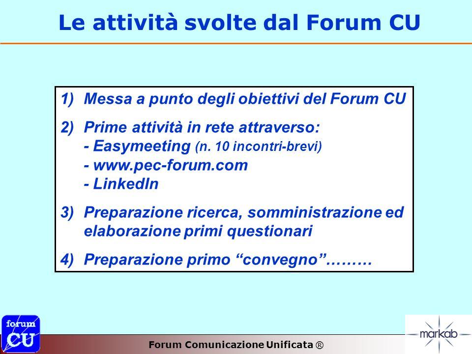 Forum Comunicazione Unificata ® Le attività svolte dal Forum CU 1) 1)Messa a punto degli obiettivi del Forum CU 2) 2)Prime attività in rete attraverso: - Easymeeting (n.