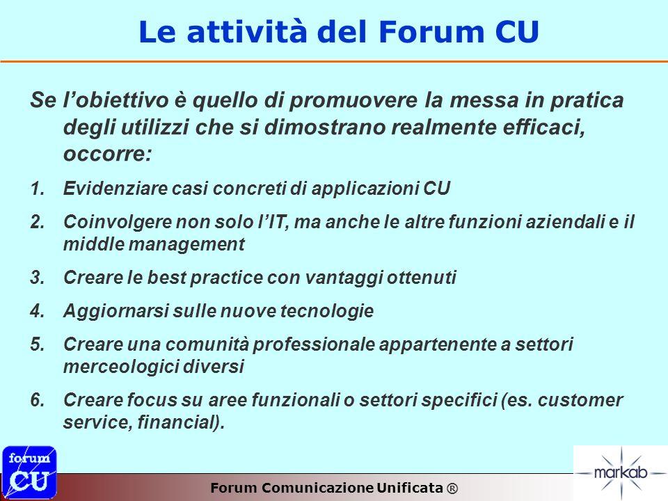 Le attività del Forum CU Se lobiettivo è quello di promuovere la messa in pratica degli utilizzi che si dimostrano realmente efficaci, occorre: 1.