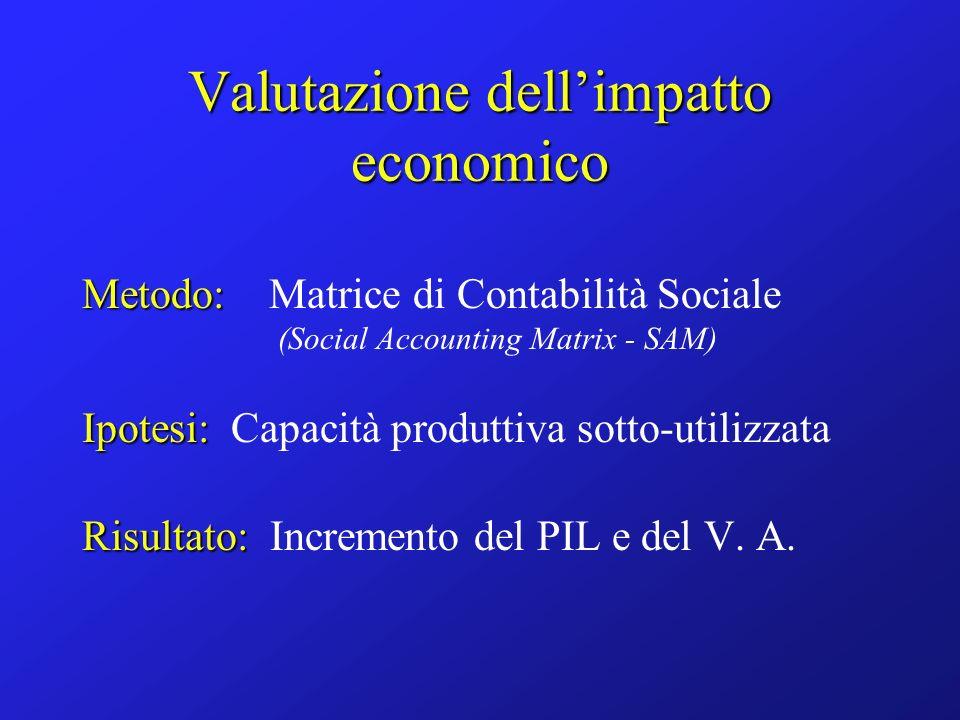 Valutazione dellimpatto economico Metodo: Metodo: Matrice di Contabilità Sociale (Social Accounting Matrix - SAM) Ipotesi: Ipotesi: Capacità produttiva sotto-utilizzata Risultato: Risultato: Incremento del PIL e del V.