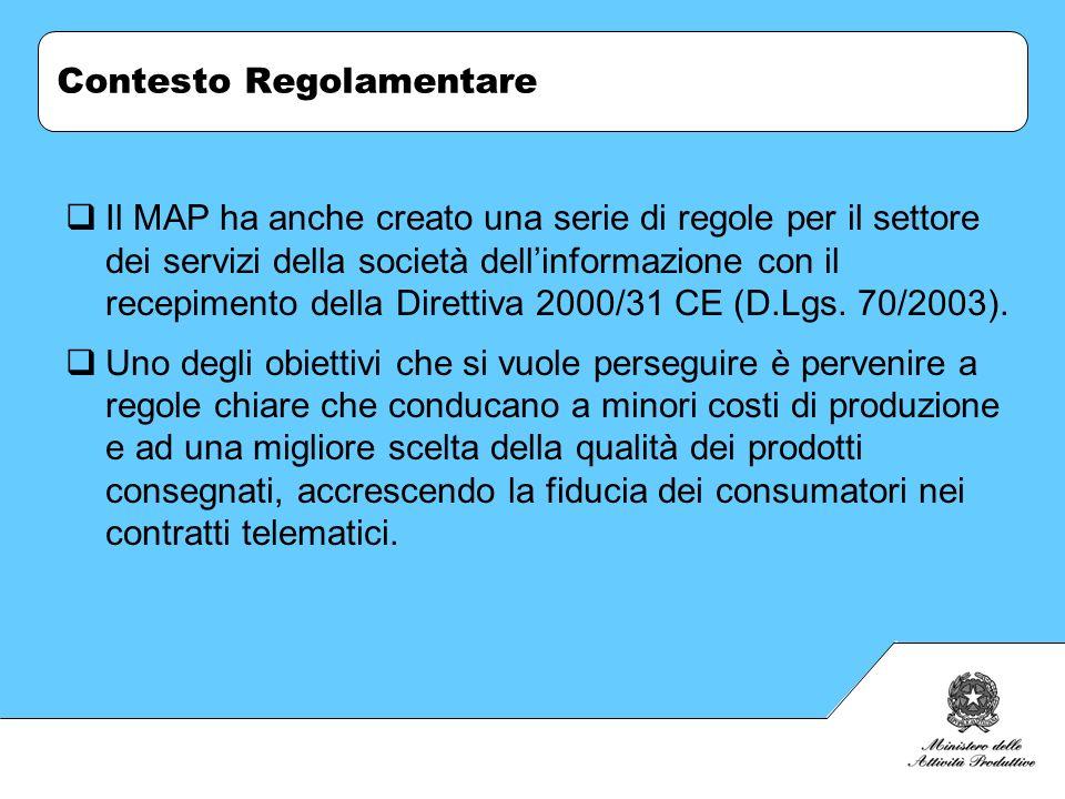 Contesto Regolamentare Il MAP ha anche creato una serie di regole per il settore dei servizi della società dellinformazione con il recepimento della D