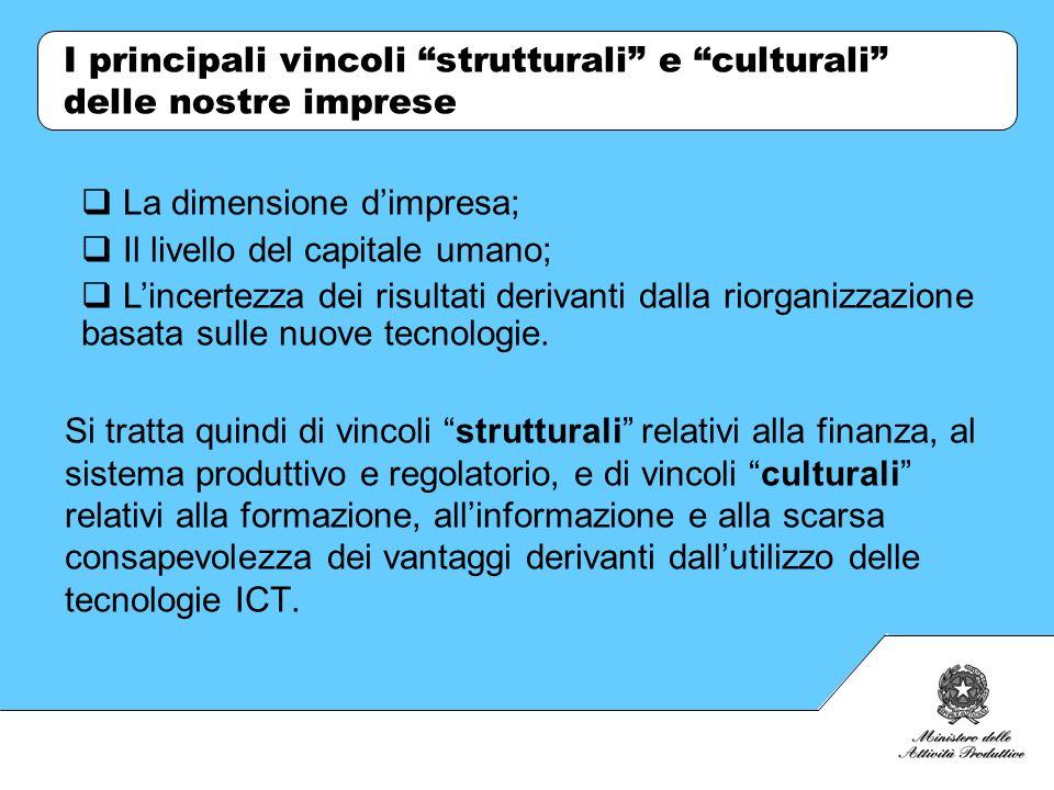 I principali vincoli strutturali e culturali delle nostre imprese Si tratta quindi di vincoli strutturali relativi alla finanza, al sistema produttivo