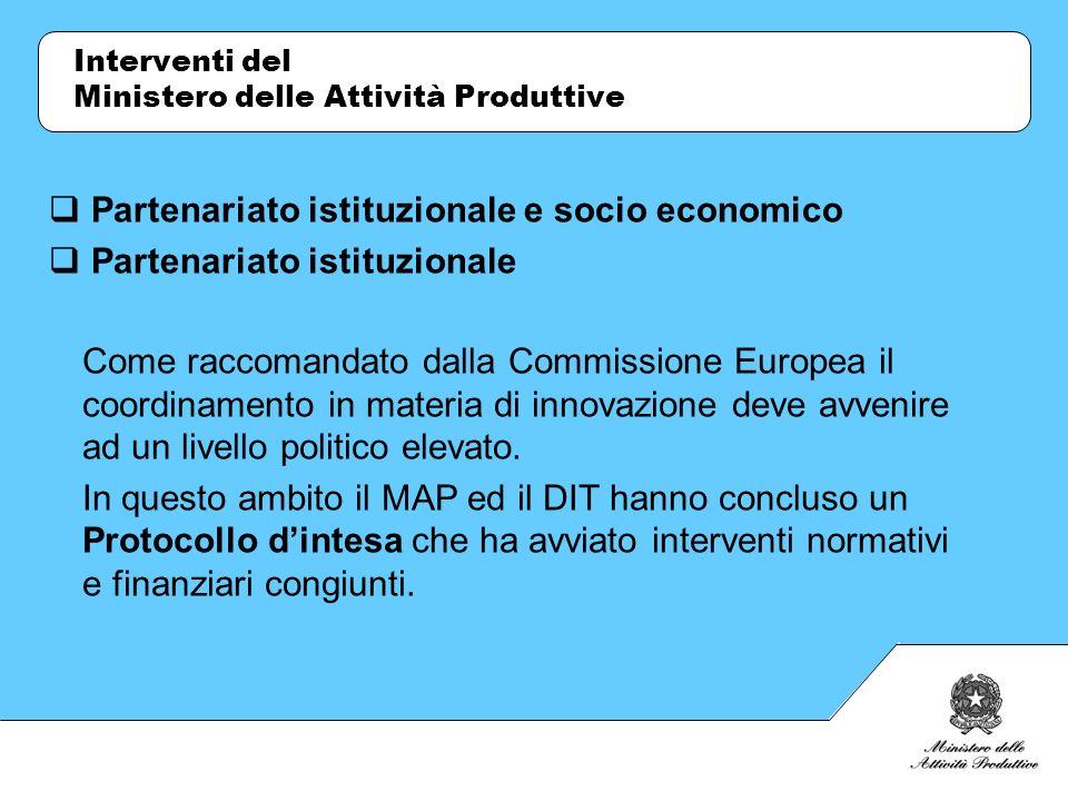Interventi del Ministero delle Attività Produttive Partenariato istituzionale e socio economico Partenariato istituzionale Come raccomandato dalla Com