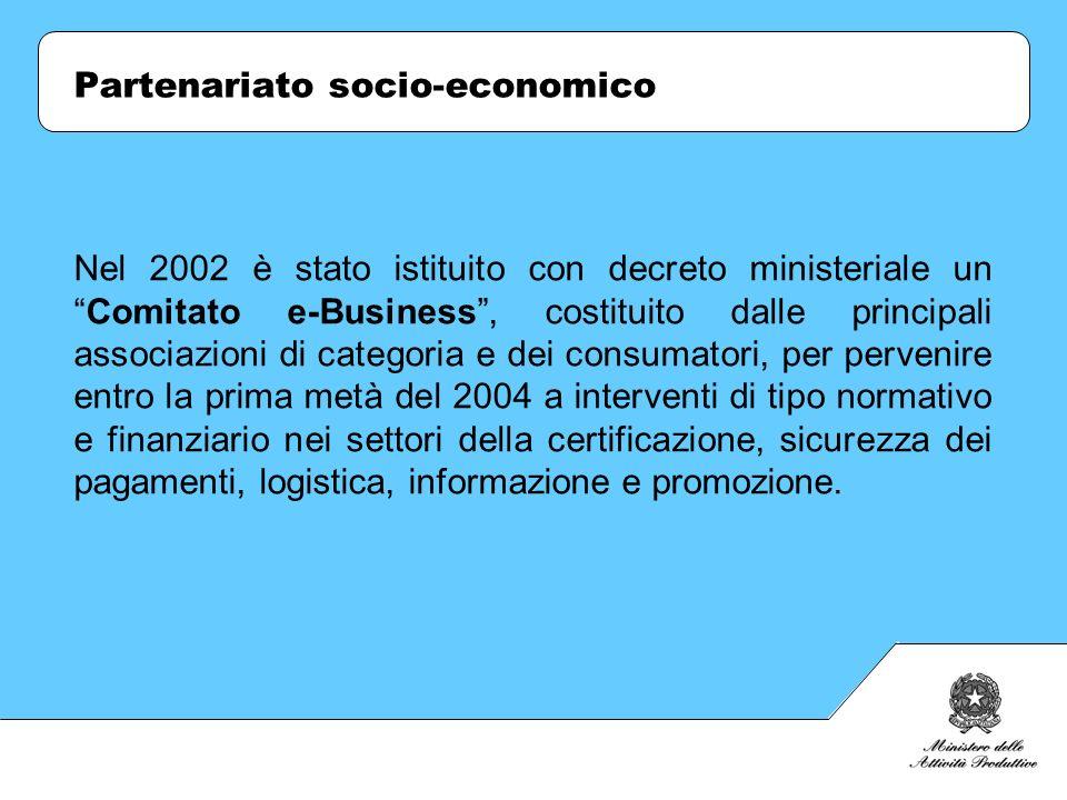 Partenariato socio-economico Nel 2002 è stato istituito con decreto ministeriale unComitato e-Business, costituito dalle principali associazioni di ca
