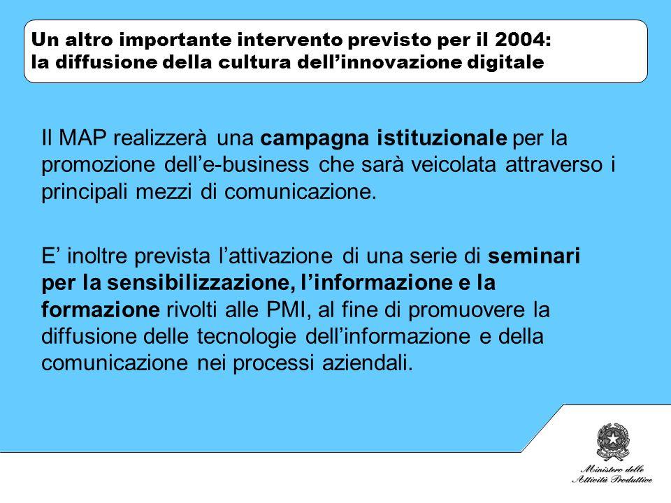 Un altro importante intervento previsto per il 2004: la diffusione della cultura dellinnovazione digitale Il MAP realizzerà una campagna istituzionale