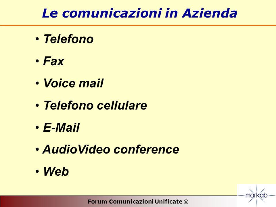 Forum Comunicazioni Unificate ® Le comunicazioni in Azienda Telefono Fax Voice mail Telefono cellulare E-Mail AudioVideo conference Web
