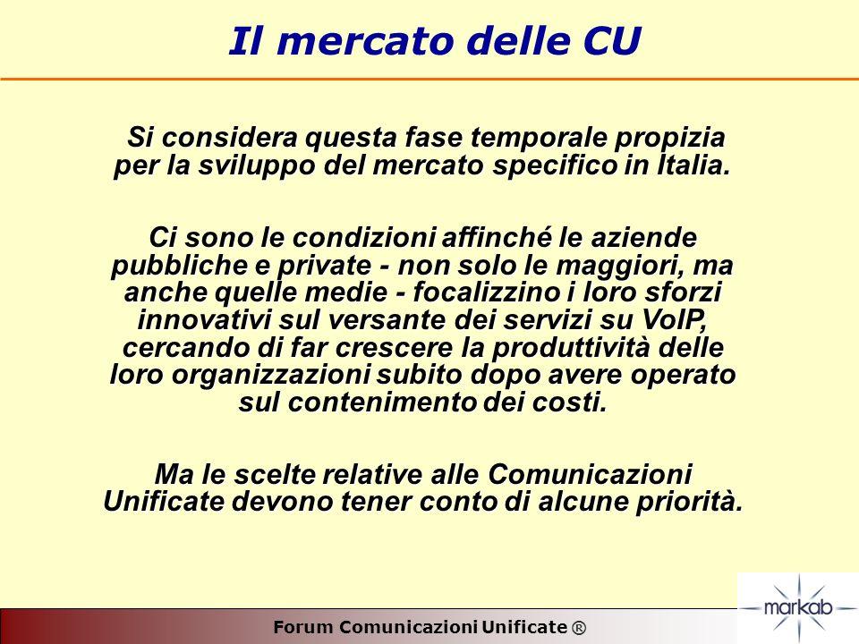 Forum Comunicazioni Unificate ® Il mercato delle CU Si considera questa fase temporale propizia per la sviluppo del mercato specifico in Italia.