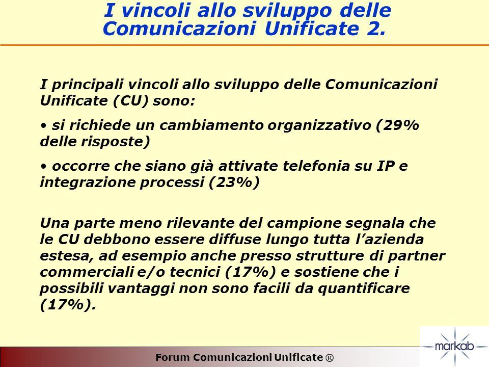 Forum Comunicazioni Unificate ® I vincoli allo sviluppo delle Comunicazioni Unificate 2.