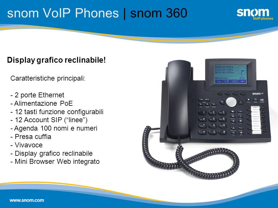 snom VoIP Phones | snom 360 Caratteristiche principali: - 2 porte Ethernet - Alimentazione PoE - 12 tasti funzione configurabili - 12 Account SIP (lin