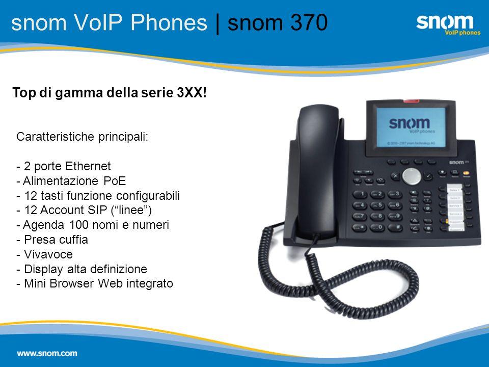 snom VoIP Phones | snom 370 Top di gamma della serie 3XX! Caratteristiche principali: - 2 porte Ethernet - Alimentazione PoE - 12 tasti funzione confi