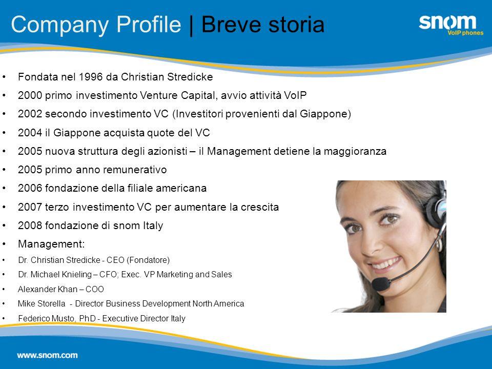 Company Profile | Breve storia Fondata nel 1996 da Christian Stredicke 2000 primo investimento Venture Capital, avvio attività VoIP 2002 secondo inves