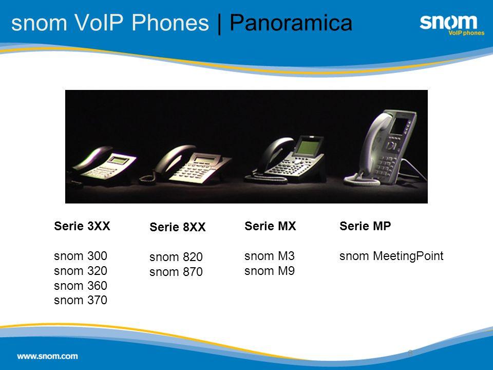 8 snom VoIP Phones | Panoramica 8 Serie 3XX snom 300 snom 320 snom 360 snom 370 Serie 8XX snom 820 snom 870 Serie MX snom M3 snom M9 Serie MP snom Mee