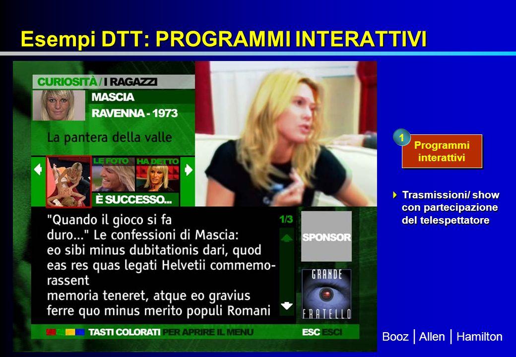 Booz | Allen | Hamilton Esempi DTT: PROGRAMMI INTERATTIVI Programmi interattivi 1 Trasmissioni/ show con partecipazione del telespettatore Trasmissioni/ show con partecipazione del telespettatore