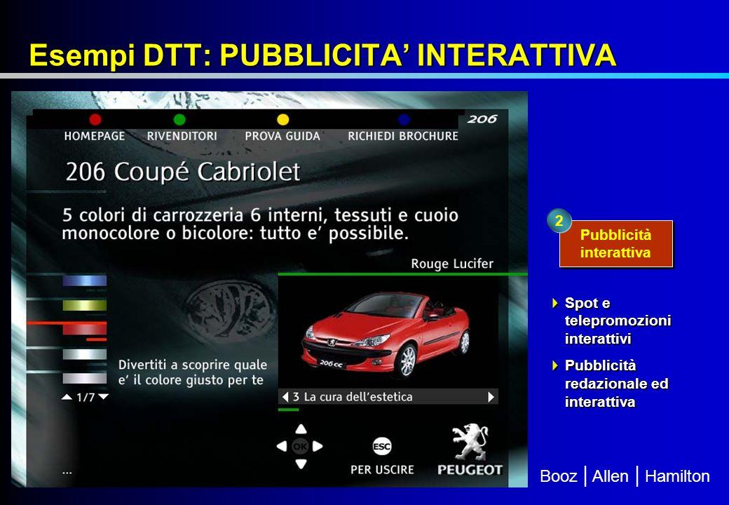 Booz | Allen | Hamilton Esempi DTT: PUBBLICITA INTERATTIVA Pubblicità interattiva 2 Spot e telepromozioni interattivi Spot e telepromozioni interattivi Pubblicità redazionale ed interattiva Pubblicità redazionale ed interattiva