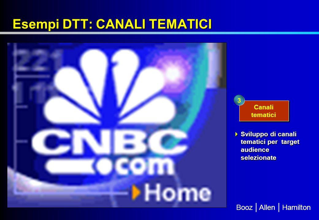 Booz | Allen | Hamilton Esempi DTT: CANALI TEMATICI Canali tematici 3 Sviluppo di canali tematici per target audience selezionate Sviluppo di canali tematici per target audience selezionate