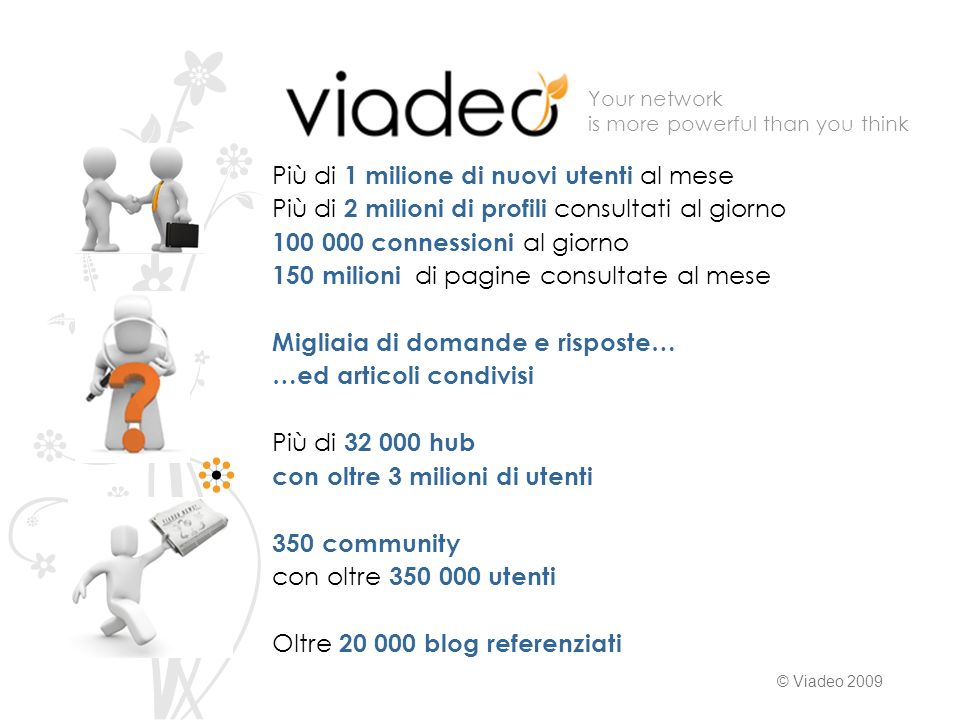 Your network is more powerful than you think © Viadeo 2009 Più di 1 milione di nuovi utenti al mese Più di 2 milioni di profili consultati al giorno 1