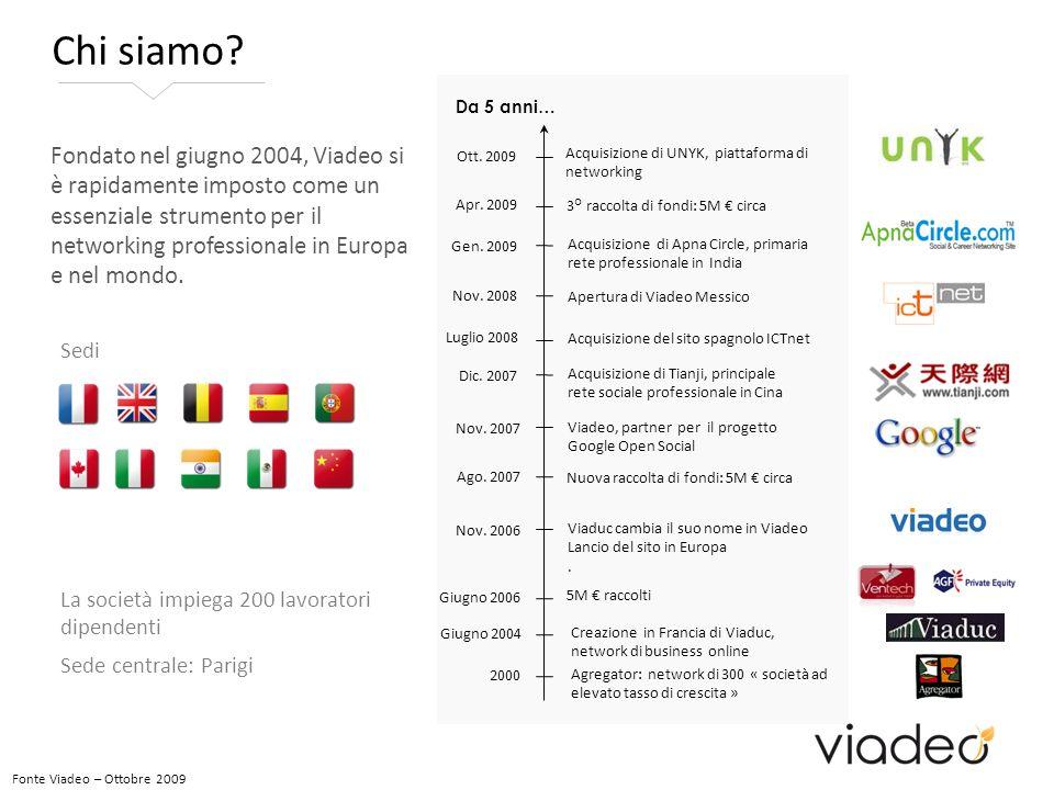 Fonte Viadeo – Ottobre 2009 Fondato nel giugno 2004, Viadeo si è rapidamente imposto come un essenziale strumento per il networking professionale in Europa e nel mondo.