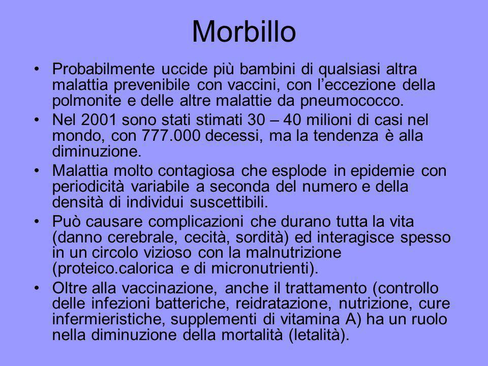 Morbillo Probabilmente uccide più bambini di qualsiasi altra malattia prevenibile con vaccini, con leccezione della polmonite e delle altre malattie d