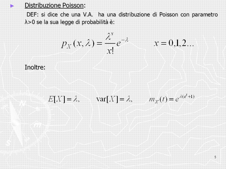 5 Distribuzione Poisson: Distribuzione Poisson: DEF: si dice che una V.A. ha una distribuzione di Poisson con parametro λ>0 se la sua legge di probabi
