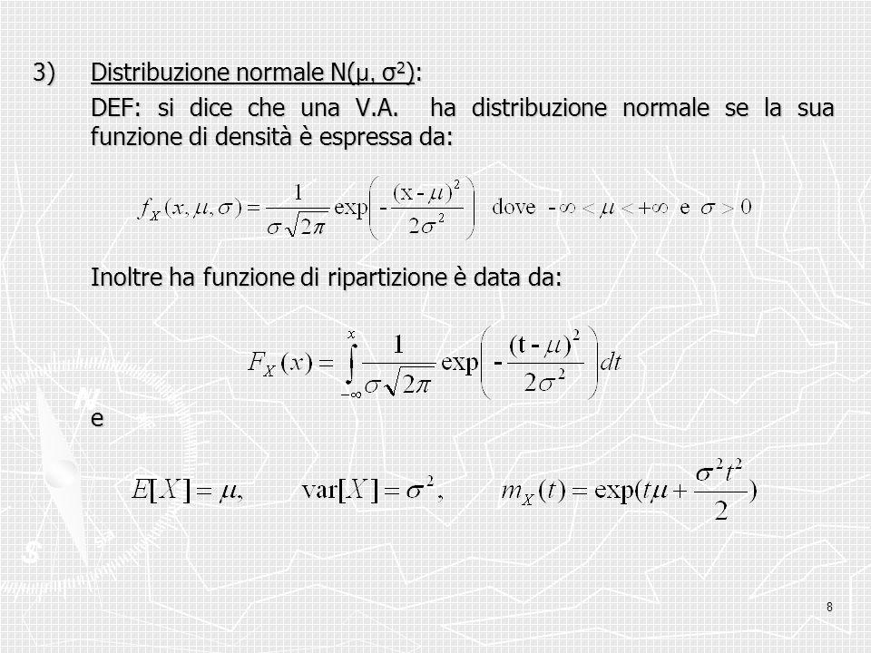 8 3)Distribuzione normale N( μ, σ 2 ): DEF: si dice che una V.A. ha distribuzione normale se la sua funzione di densità è espressa da: Inoltre ha funz