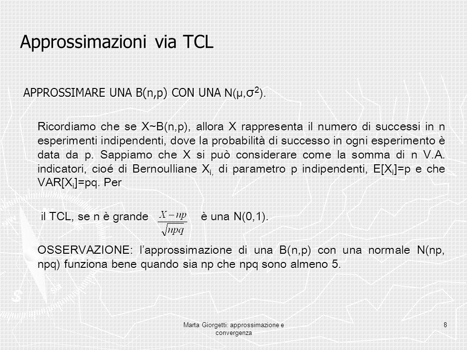 Marta Giorgetti: approssimazione e convergenza 8 Approssimazioni via TCL APPROSSIMARE UNA B(n,p) CON UNA N(μ, σ 2 ). APPROSSIMARE UNA B(n,p) CON UNA N