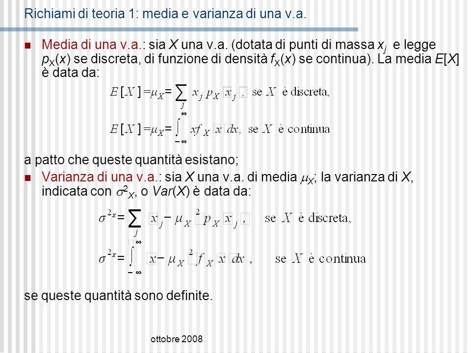 ottobre 2008 Esercizio 5: testo e soluzione Sia, dove I A (t) è la funzione indicatrice dellinsieme A, la f.d.r.