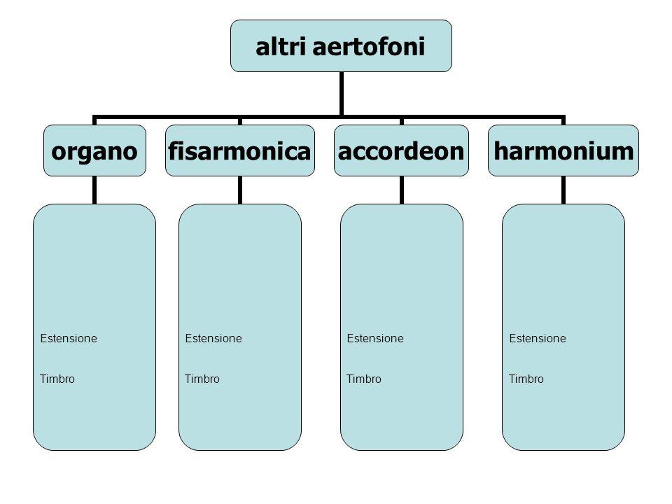 altri aertofoni organo Estensione Timbro fisarmonica Estensione Timbro accordeon Estensione Timbro harmonium Estensione Timbro