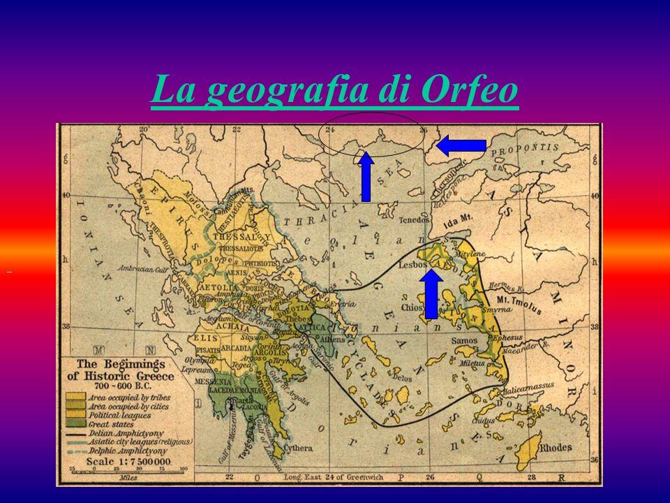 Sulla carta sono stati indicati i seguenti luoghi: Tracia: terra natale di Orfeo Ebro: fiume della Tracia che trasportò verso il mare i resti di Orfeo (in particolare la testa e la lira) dopo che fu sbranato dalle donne Tracie (o dalle Baccanti) Lesbo: isola dellAsia Minore in cui approdò la testa mozzata di Orfeo