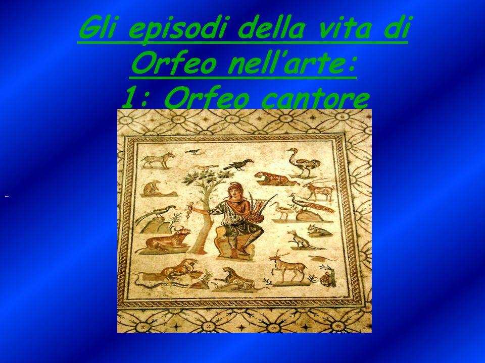 In questo mosaico di epoca romana Orfeo è rappresentato seduto su una pietra e tiene in mano una lira a sette corde, lo strumento da lui tanto amato.