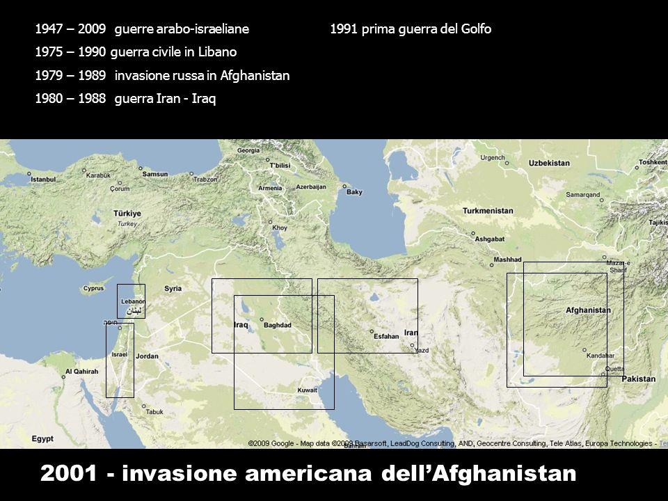 1947 – 2009 guerre arabo-israeliane 1975 – 1990 guerra civile in Libano 1979 – 1989 invasione russa in Afghanistan 1980 – 1988 guerra Iran - Iraq 2001 - invasione americana dellAfghanistan 1991 prima guerra del Golfo