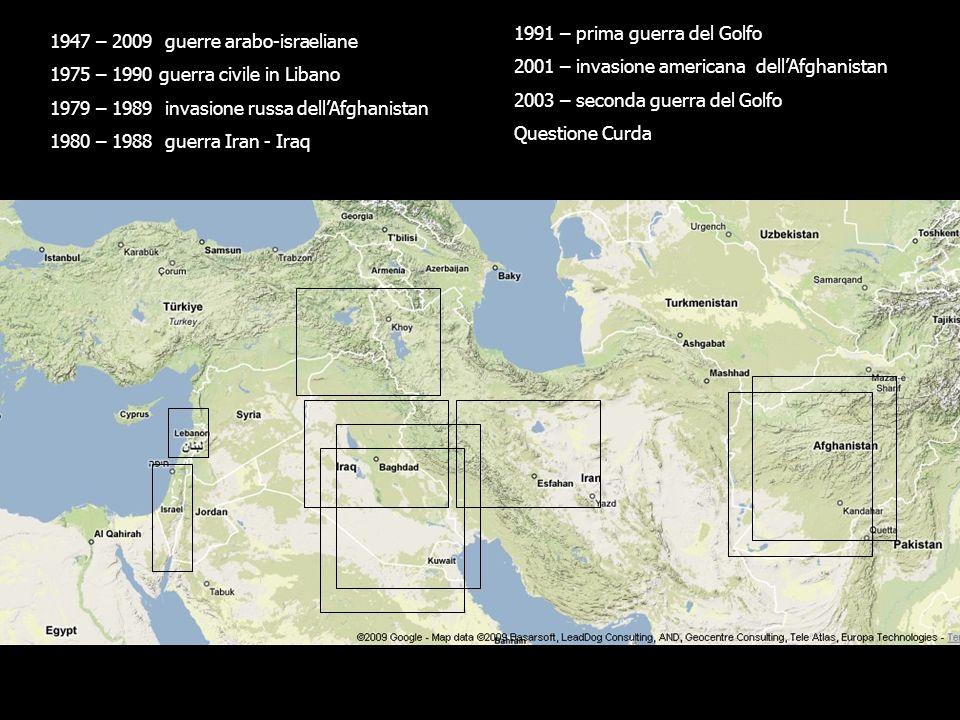 1947 – 2009 guerre arabo-israeliane 1975 – 1990 guerra civile in Libano 1979 – 1989 invasione russa dellAfghanistan 1980 – 1988 guerra Iran - Iraq 1991 – prima guerra del Golfo 2001 – invasione americana dellAfghanistan 2003 – seconda guerra del Golfo Questione Curda
